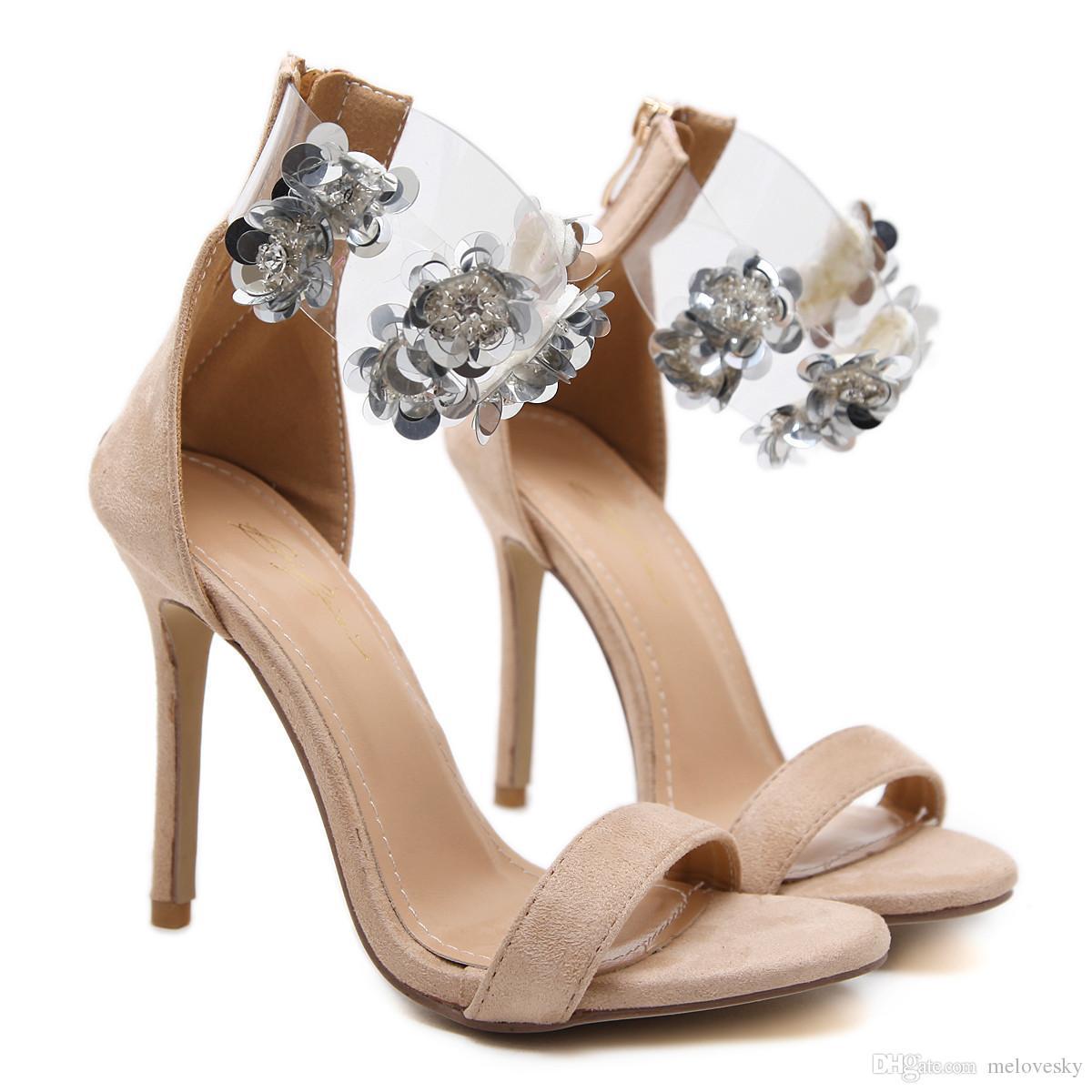 New Fashionl Women High Heel Open Toe Luxury Beads Crystal Flowers