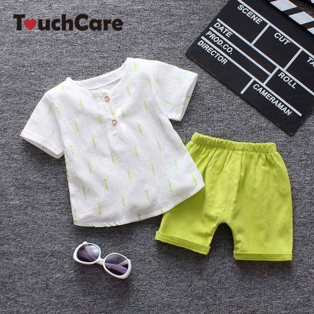 9def41b182612 2 PCS Linen T-shirt Pants Set Tracksuit For Boys Kid Tree Printed Top  Shorts Suits Baby Summer Clothing Set Casual Boy Clothes