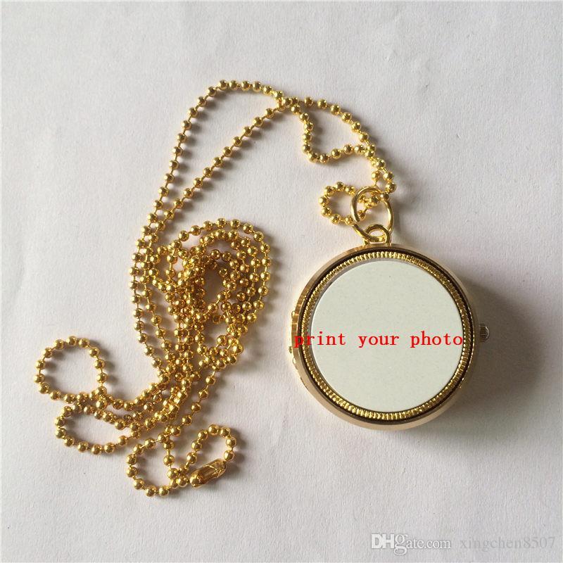Sublimation Gold Medaillon Halsketten Anhänger Medaillon hochwertige leere Halskette Anhänger für Thermotransferdruck anpassbare diy