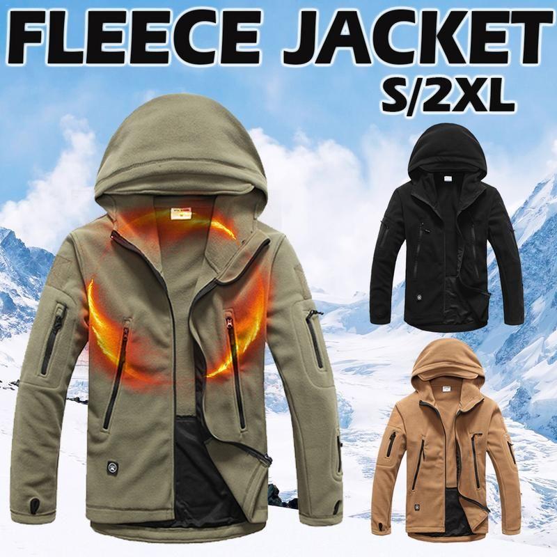 18ae9ee3f Outdoor Soft Shell Fleece Jackets Warm Underwear Catching Fleece Men s  Cold-proof Jacket Hoodie Unisex Sportswear