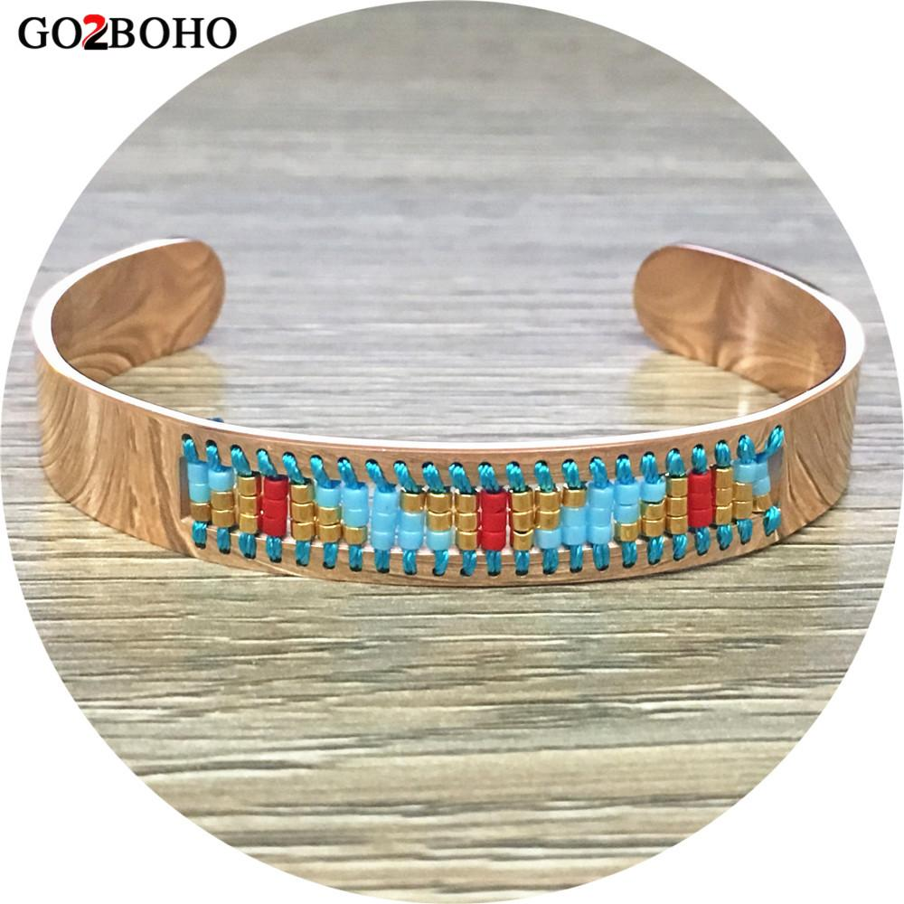 ddc39e99ded 2019 Go2boho Dropshipping 2018 Delicate Bracelet Rose Gold Adjustable Stainless  Steel Cuff Bracelets Metal Seed Beads MIYUKI Bangle From Haydena, ...