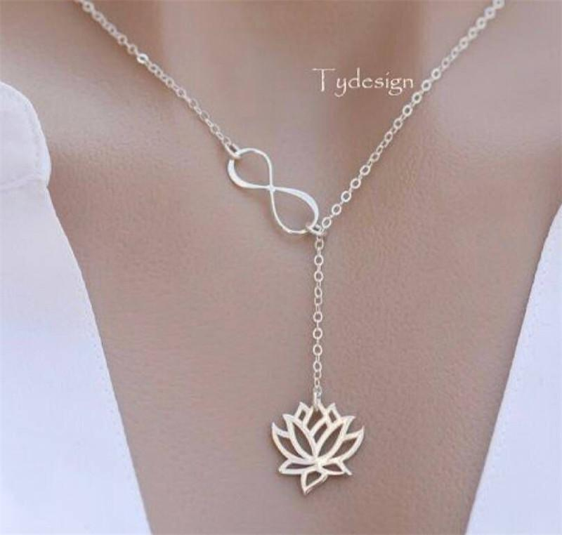 Fashion Choker Necklace Silver/Gold Color Link Chain Infinity Lotus Pendant Necklace For Women Wholesale YMCJN016