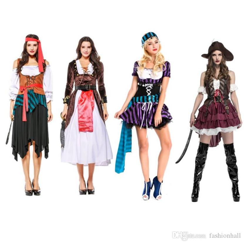 High Quality Sexy Women Pirate Costume Halloween Fancy Party Dress Carnival  Perfor Mance Adult Pirate Warrior Cosplay Costumes Fairy Costume Teen  Halloween ... d68af830ad99