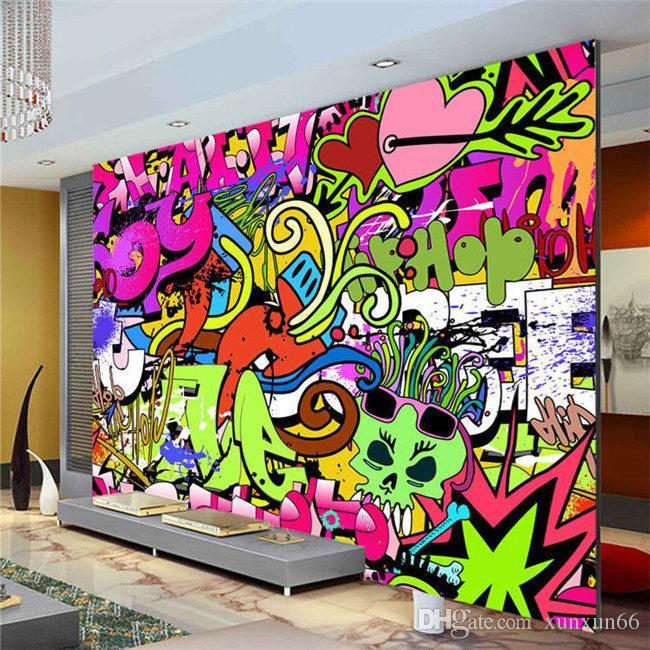 Grafite Meninos Urban Art Foto Papel De Parede Personalizado Murais de Parede de Rua cultura papel de parede arte da parede Quarto Corredor Crianças Room Decor Frete grátis