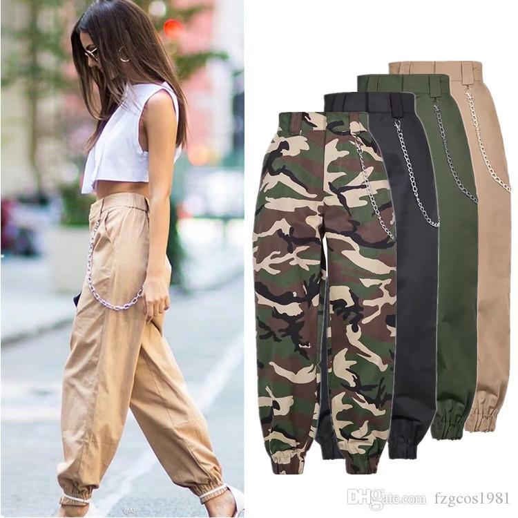 4319ff0369 Pantaloni della tuta mimetica militare della catena della moda 2018 donne  Army pantaloni a vita bassa neri larghi della camuffa dei pantaloni dei ...