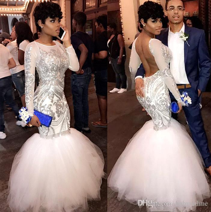 Sexy African White Mermaid Long Sleeves Prom Dresses 2019 Sequins Appliqued Backless Prom Dresses Evening Wear Party Gowns BA8423
