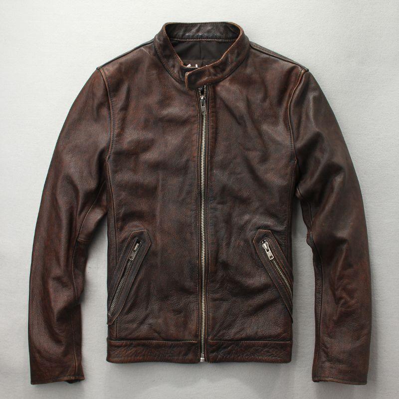 Echtem Motorradbekleidung Aus Stein Schicht Leder Vintage Für Gewaschene Erste Herren Brown Lederjacke Mit Motorjacke 4LAR5j