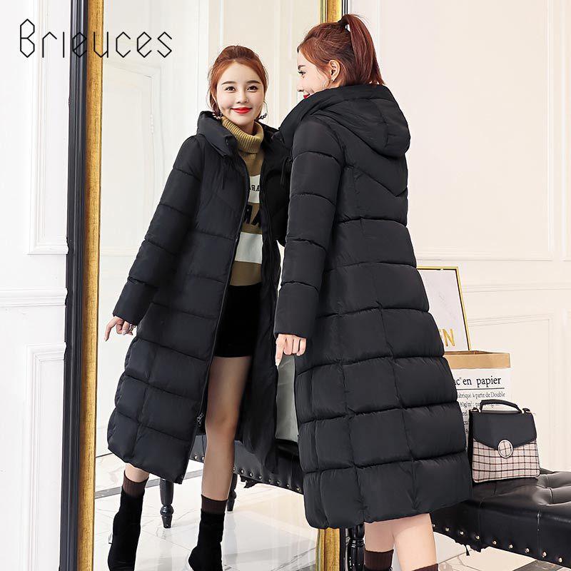 116faed31 Brieuces 2018 New Fashion Women's Winter Jacket Warm Hooded Female Women's  Winter Coat Long Parkas Thicken Down Cotton Outwear Warm Parkas