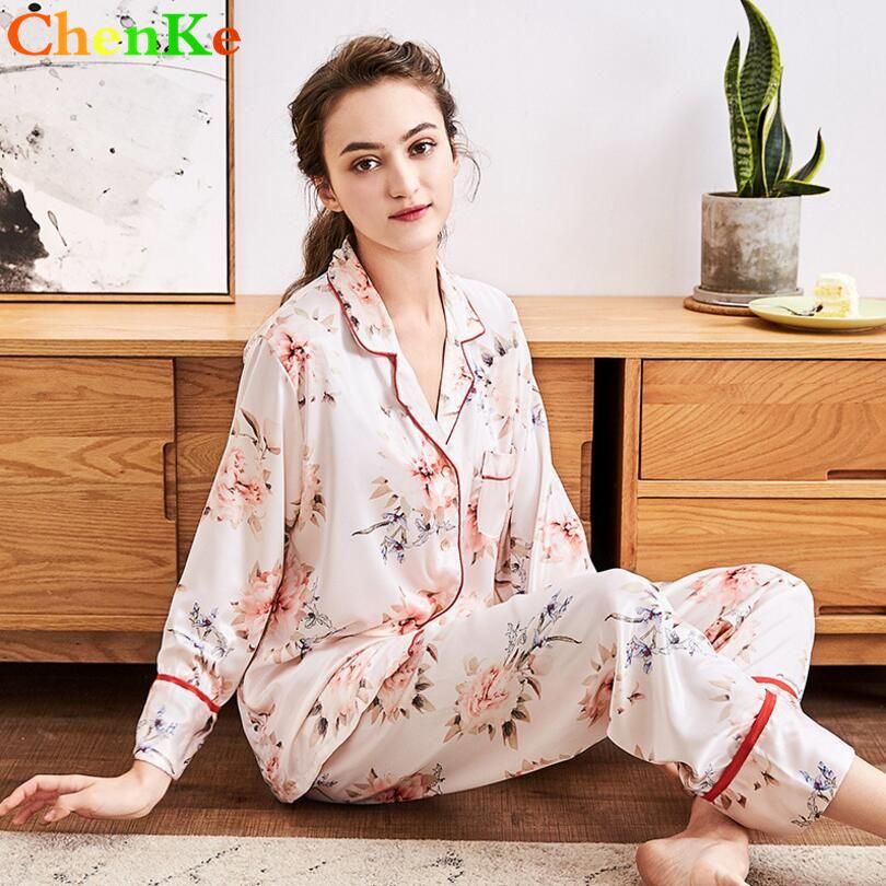 ChenKe Women Silk Satin Pajamas Pajamas Set Long Sleeve Sleepwear With  Flower Print Suit Bordure Set Loungewear Pajama Sets Cheap Pajama Sets  ChenKe Women ... 2e86279f0