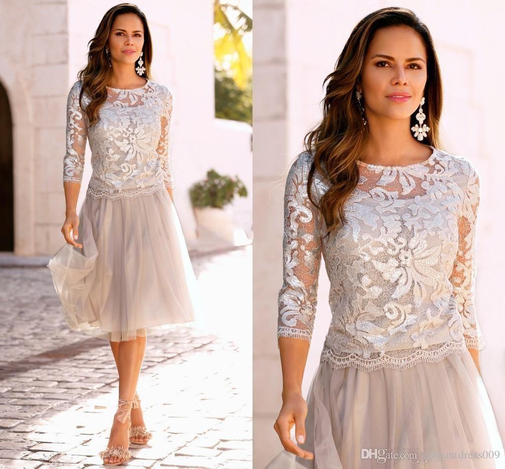 Cheap dentelle courte Robes de mariée d'argent 3/4 manches Jewel cou hiérarchisé Tulle Mère Robe pas cher Robes de bal de soirée de mariage