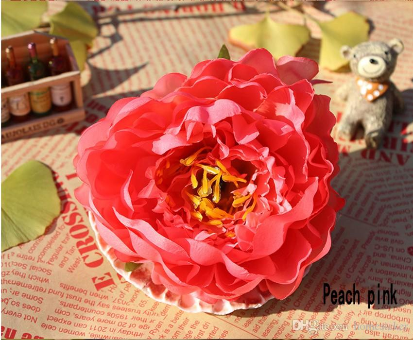 14cm Fleurs artificielles pour le mariage Décorations soie Pivoine capitules Parti Décoration de mur de fleur de mariage Toile de fond blanc Pivoine