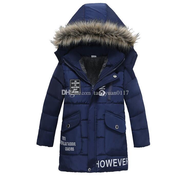 9b15b613c Kid Warm Thickening Winter Fur Collar Child Coat Children Outerwear ...