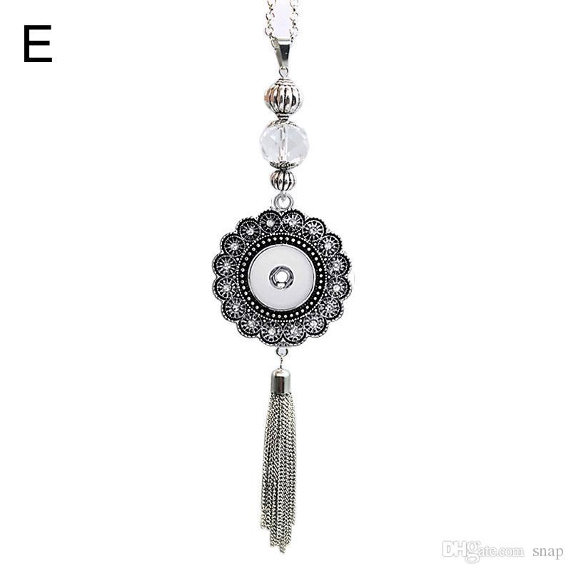 Hochwertige austauschbare Böhmen 112 Rhinestones 18mm Snap-Knopf Halsketten Anhänger DIY Schmuck für Frauen Männer 60cm