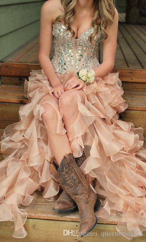 Custom Made Rhinestone Sweetheart Prom Dresses Zipper Back Ruffles Organza High Low Party Formal Evening Gowns