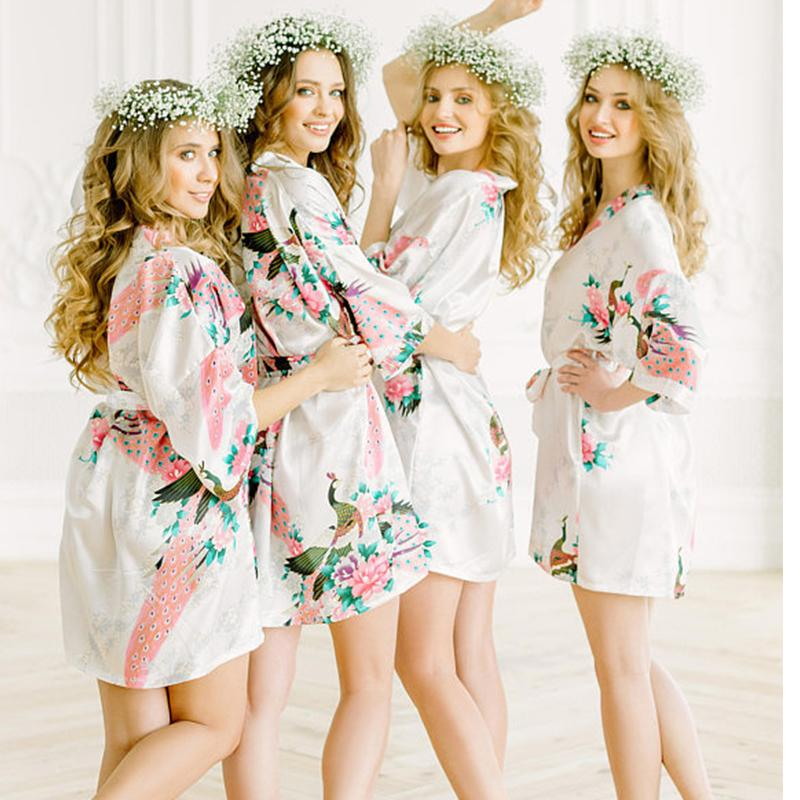 2019 Big Size XXXL Female Robe Kimono Bathrobe Bride Bridesmaid Sexy Robes  Flower Sleepwear Wedding Gift Sexy Cosmetic Bath Gown From Cailey 48d615031935