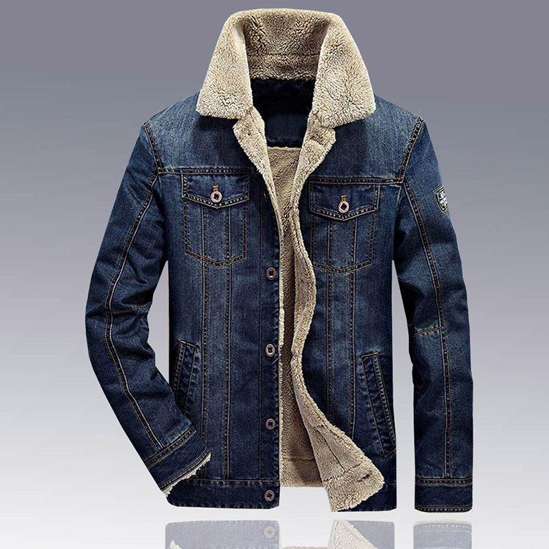 Jacket Jeans Men Winter Thicken Warm Lamb Wool Fleece Lining Denim