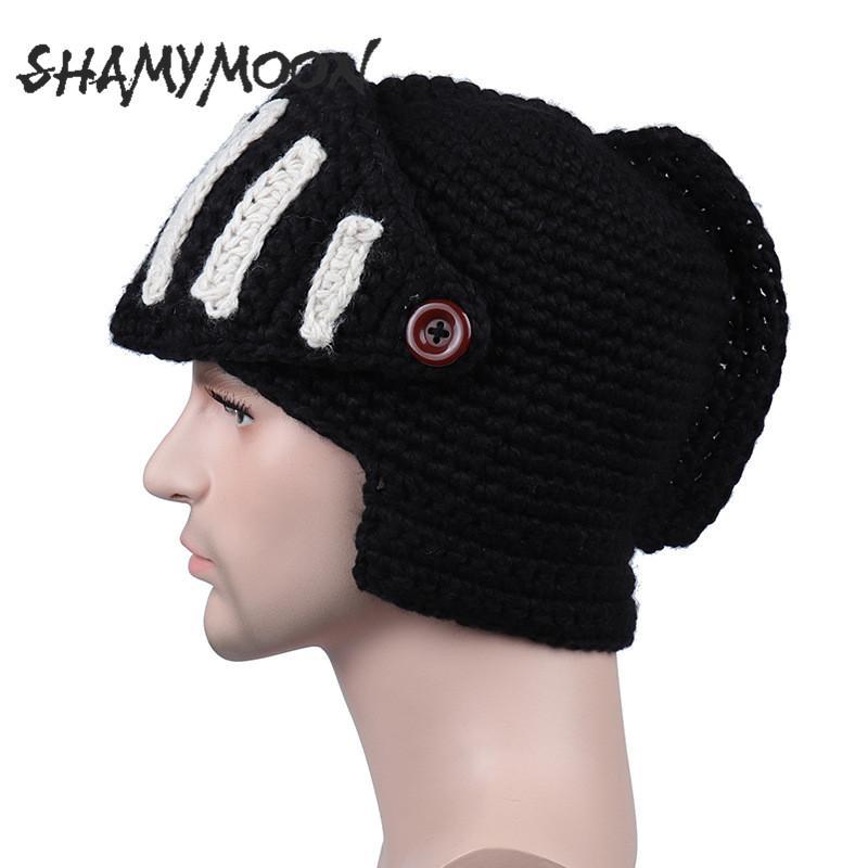 15e085dc182 2019 SHAMYMOON Knit Hats Men Autumn Winter Fashion Roman Knight Warm  Novelty Cap Men S Trend Gladiator Mask Hand Made Cap HT013 From Longanguo