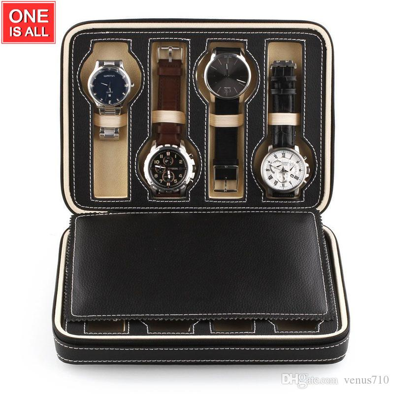 01ab21497 8 Grids Watch Leather Box Storage Showing Watches Display Storage Box Case  Tray Zippered Travel Watch Collector Case Storage Case For Watches Storage  Watch ...
