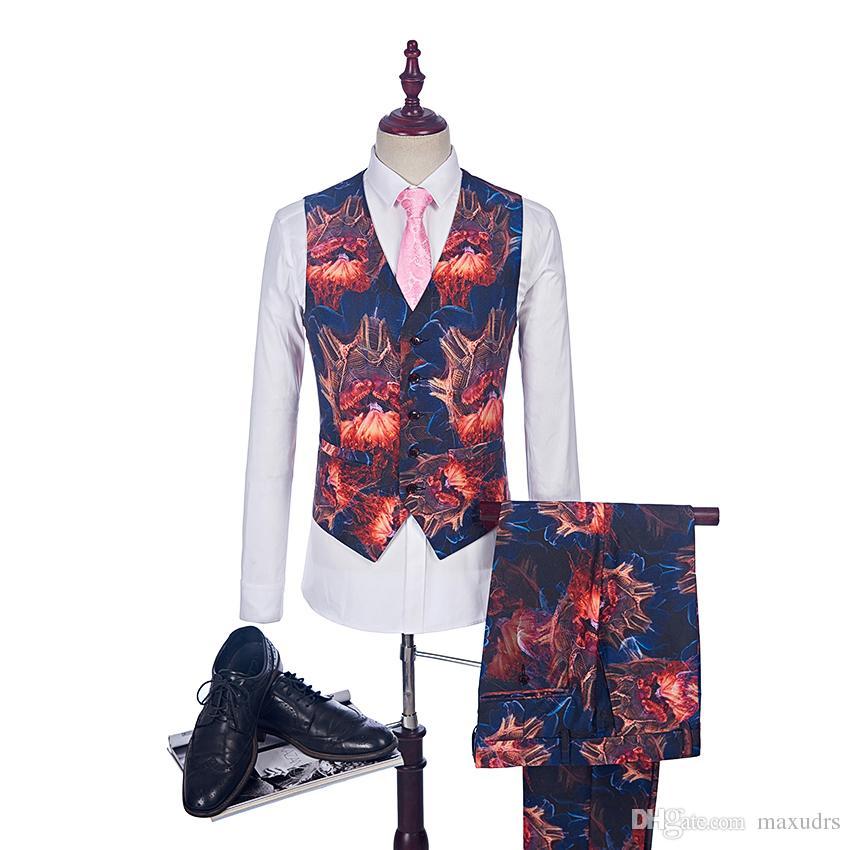 2018 costume de mode flamme costume pour hommes occasionnels de scène de vêtements de scène Vintage Mens imprimé costumes de bal de bal Blazer + Vest + Pant