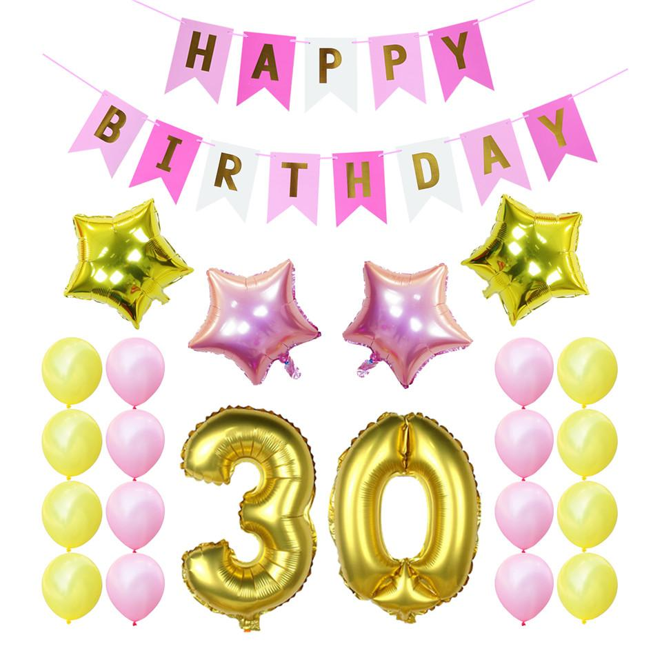 2019 30th Birthday Party Decoration Sets Happy Banner 30 40 50 60th Gold Number Balloons Years Old Supplies From Hongxuanstore007