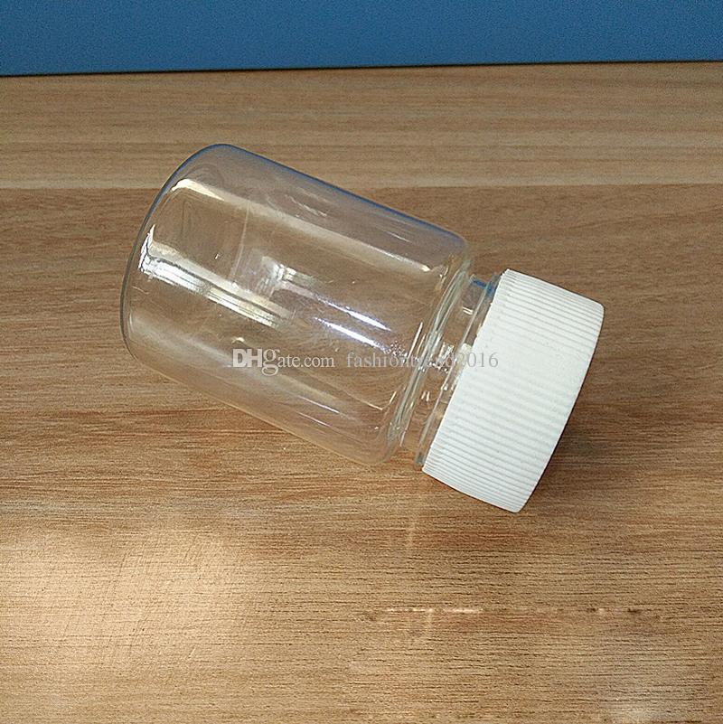 50ML Transparent PET Small Square Sample Bottle Screw Cap Plastic Packaging Bottle Pill Bottles Clear Capsule Bottle