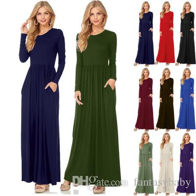 fb2cf90dc42 Fashion Clothing Women Long Sleeve Maxi Dress Round Neck Loose Plain Swing Casual  Long Dresses With Pockets High Quality FU028 Black Dresses For Sale Ladies  ...