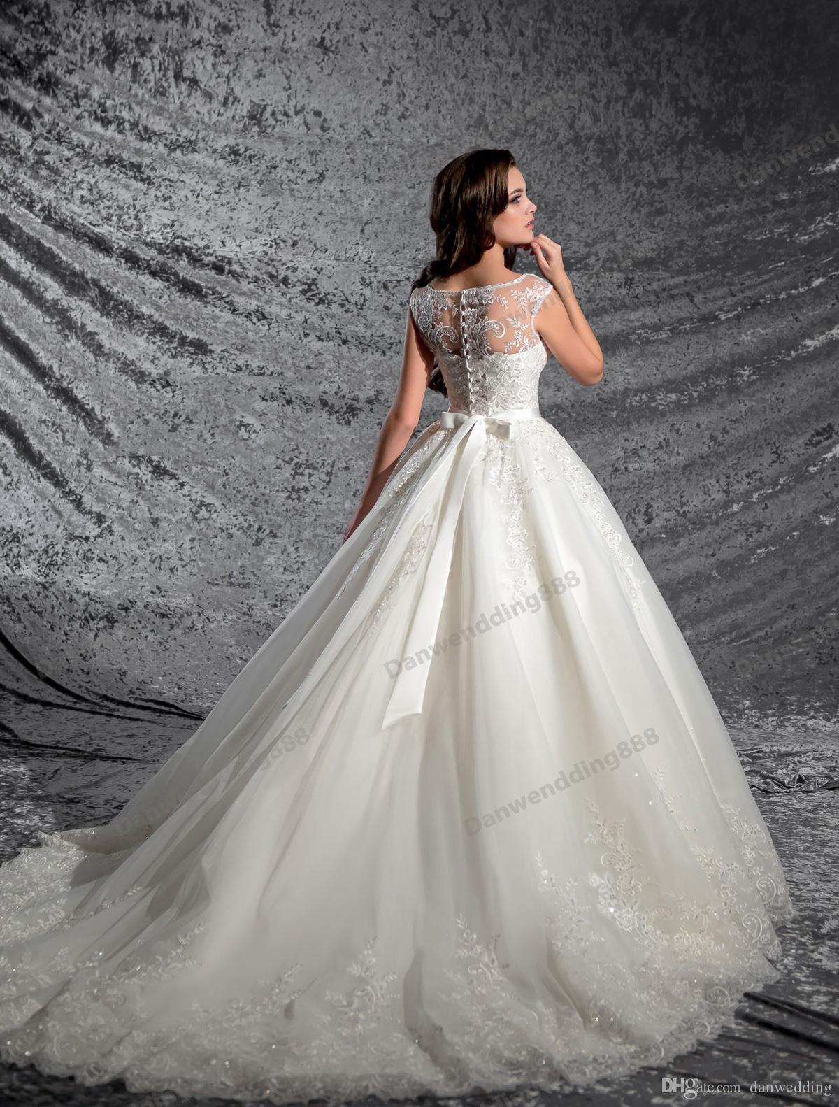 Grace Ivory Tulle Scoop apliques perlas una línea de vestidos de novia nupcial desfile vestidos de boda Vestidos tamaño personalizado 2-16 ZW606012