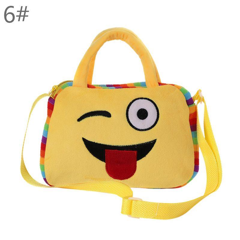 2018 Kids Emoji Face Plush Backpack Purse Girl Boy School Shoulder Bag Crossbody Multifunction Accessories Handbag 10 Kawaii Patterns New
