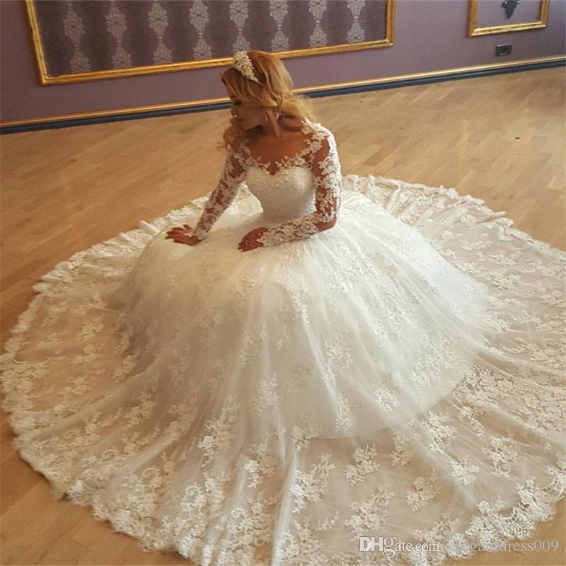 Robe de mariée de luxe 2018 robes de mariée pure cou de long illusion manches dentelle applique train train wedding robe de mariée