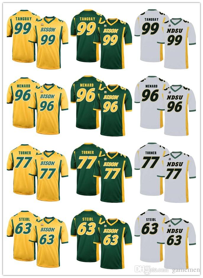 super popular 843bd fae7e North Dakota State Bison 99 Nate Tanguay 96 Greg Menard 77 Billy Turner 63  Aaron Steidl MENS College Football STITCHED Jersey