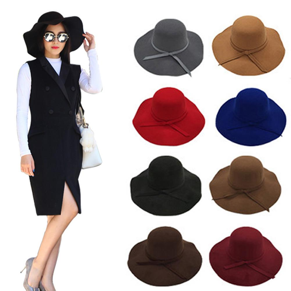 9cef8d5adfc Fashion Women Soft Felt Floppy Cloche Wide Brim Bowknot Hat Fedora Cap Sun  Hats H9 Crazy Hats Fishing Hat From Shukui