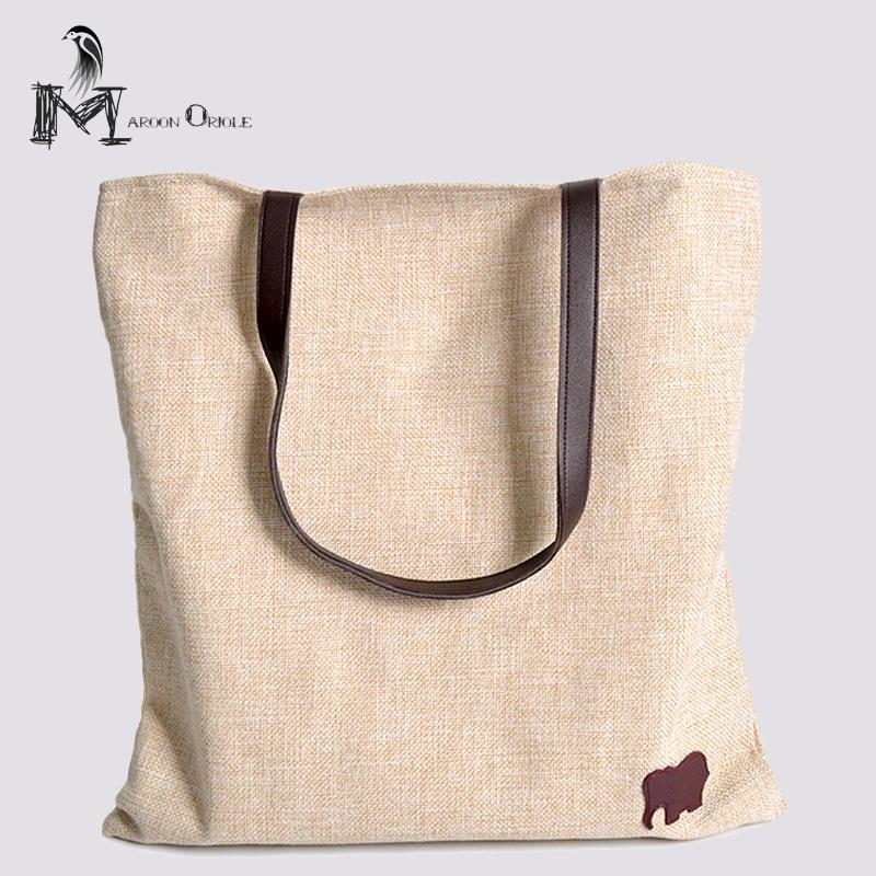 Leather Linen Bag Heavey Cotton Tote Bag Reusable Grocery Casual ... 34ef94308dc30