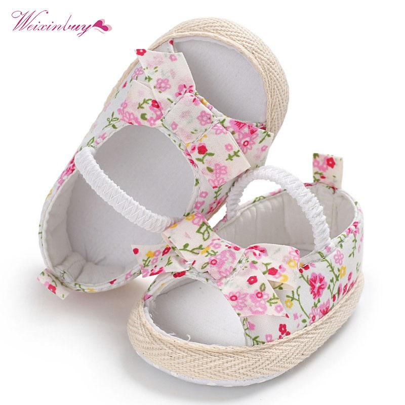 Lovely Summer Princess Baby Girls Shoes Floral Bowknot Slip-on Crib Sneakers Soft Sole First Walkers Newborn Infant Toddler First Walkers
