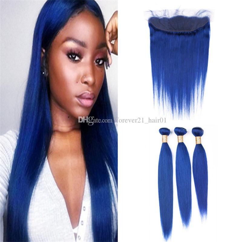 2018 Virgin Brazilian Blue Human Hair Weave Silky Straight 3 Bundles