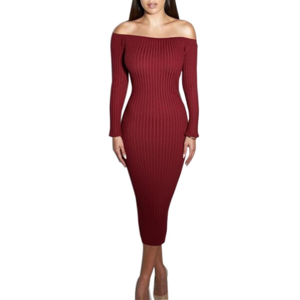 Fashion Long Sleeve Off Shoulder Women Dress Slash Neck Slim Bodycon Knitted Sweater Party Night Sexy Club Dress