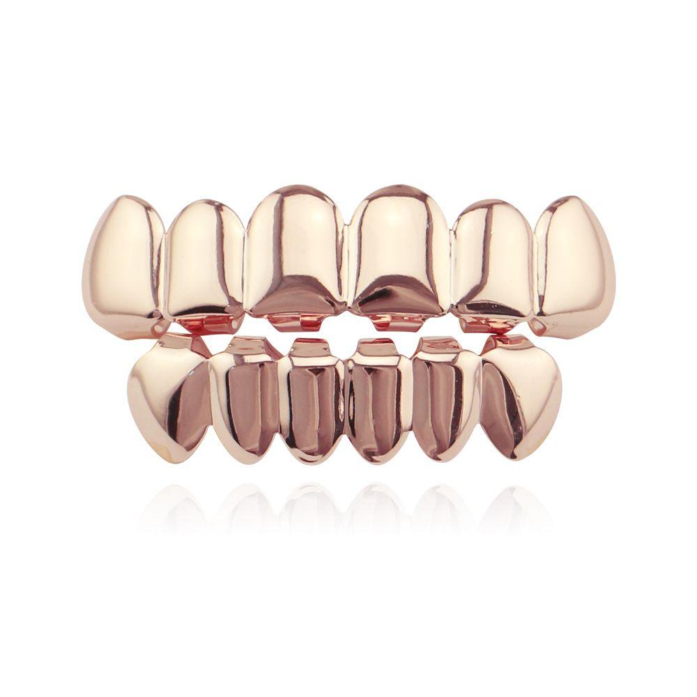 HIPHOP personalizzato placcato oro singolo dente cap hip hop bretelle gioielli rap cantante gioielli set regali all'ingrosso