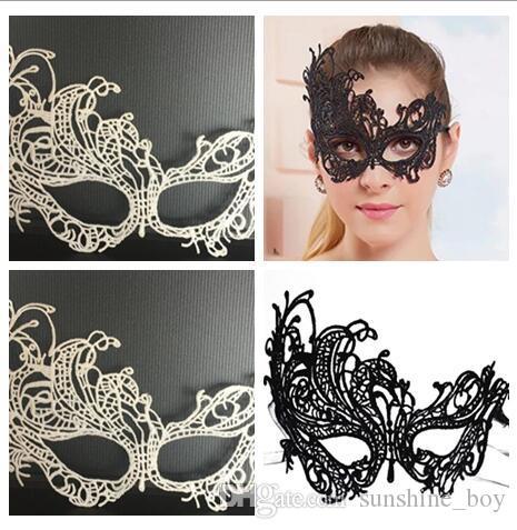 2018 New Fashion Sexy tipo Masquerade Halloween Requintado Lace Meia Máscara Facial Para meninas Da Senhora casamento Preto Branco Opção