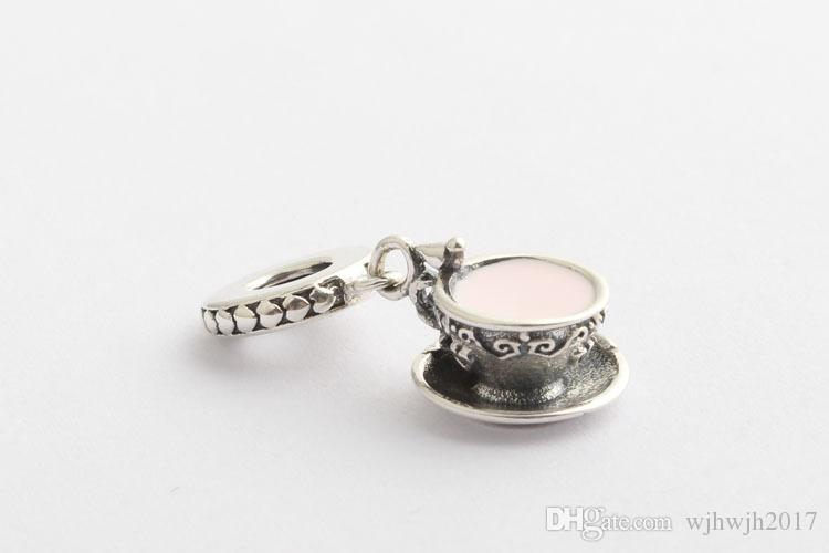 2018 Summer New Authentic 925 Sterling Silver Bead Crystal Pink Enamel Enchanted Tea Cup Hanging Charms Fit Pandora Bracelets Diy Jewelry
