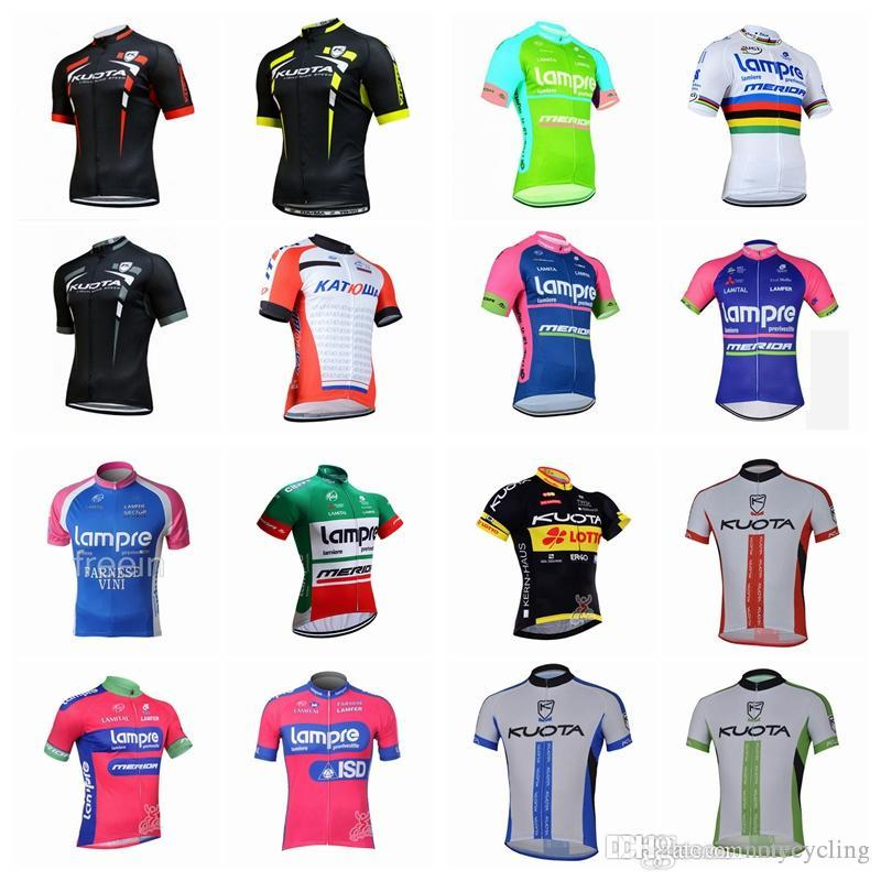 Lampre Kuota 2018 Men S Hot Cycling Jersey Bike Clothing Summer Short  Sleeve Racing Bicycle Clothing Cycling Shirts Riding Wear A42102 Bicycle T  Shirts From ... 18a6a8730