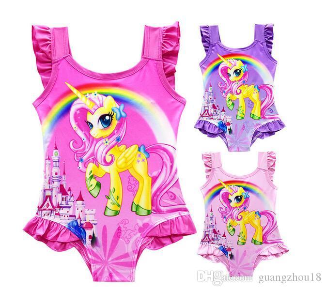 6 diseño INS Unicorn Swimwear One Piece Bowknot Bikini Big Kids Summer Cartoon Infant Swim Trajes de baño Ropa de playa Nuevo lanzamiento