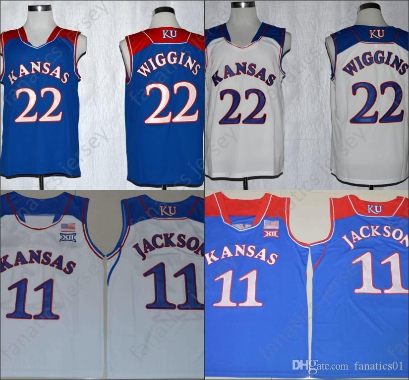 abe7e36af2b 2019 Kansas Jayhawks Jerseys NCAA College Basketball Mens 22 Andrew Wiggins  Youth Kids 11 Josh Jackson 2018 Big Discount Jersey From Fanatics01