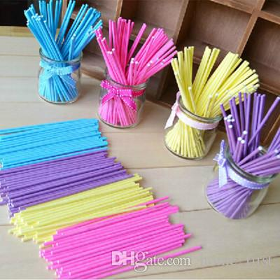 Environmental Food Grade 15CM 100pcs Colorful Solid Pure Wood Pulp Baking Lollipops Paper Sticks Chocolate Candy Cudgel Pole