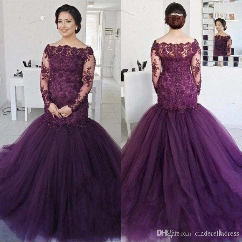 1416efafd29 Elegant Grape Long Sleeves Mermaid Prom Dresses 2018 Off The Shoulder  Vintage Lace Sequined Beaded Plus Size Puffy Tulle Evening Gowns Formal  Short Dresses ...