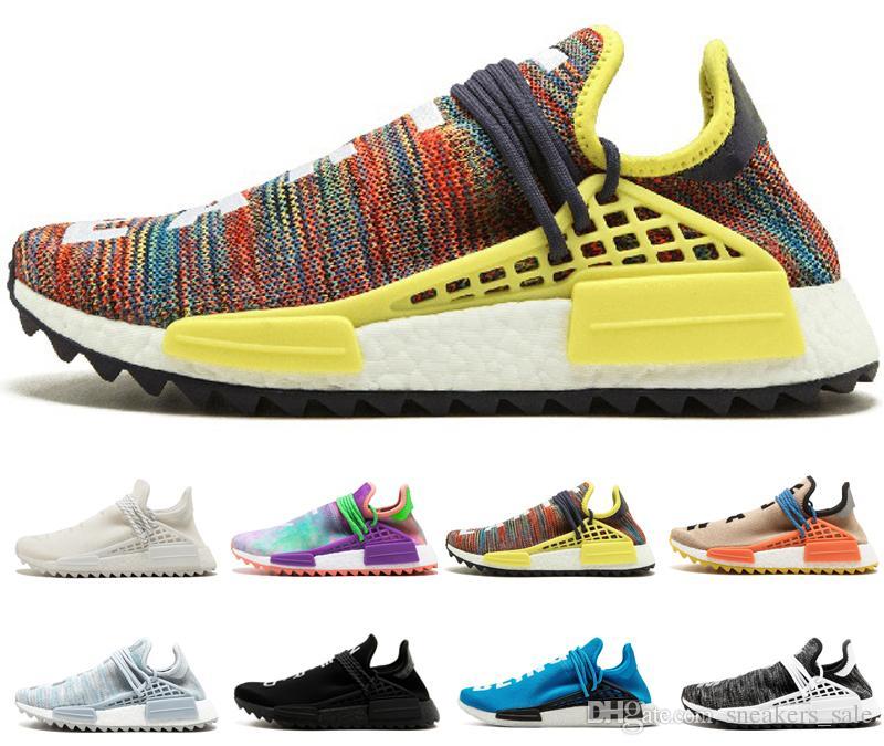 74d61619b 2019 Cheap Human Race Trail Running Shoes Men Women Pharrell Williams HU  Runner Yellow Black White Red Green Grey Blue Sports Runner Sneakers From  ...