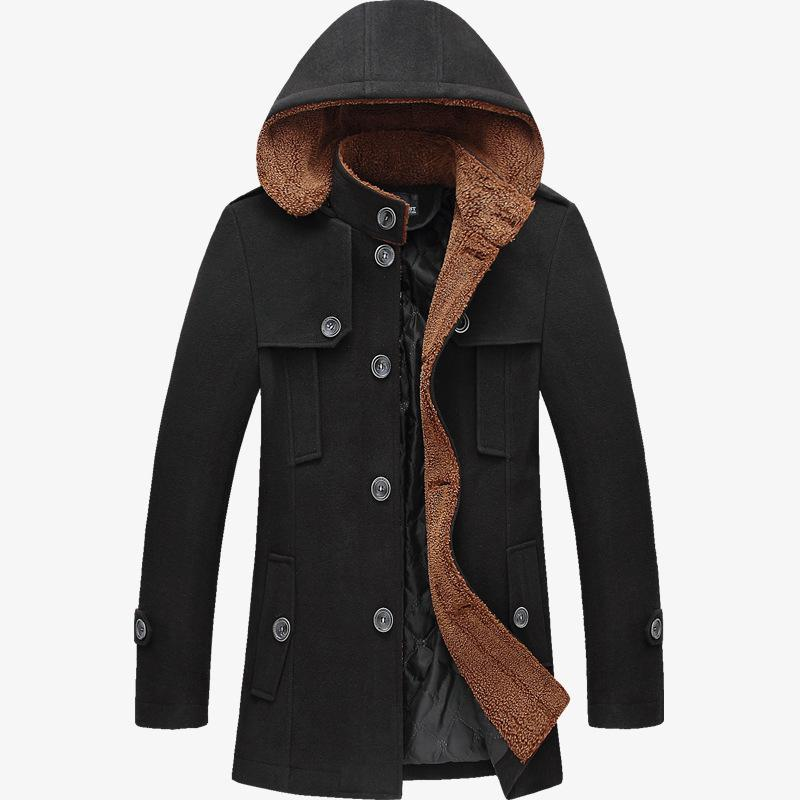 Men Casual Jacket Long Winter Trench Coats 2017 New Mens Slim Fit Korean Hooded Overcoat For Men Thick Wool&Blends Plus Size 3XL