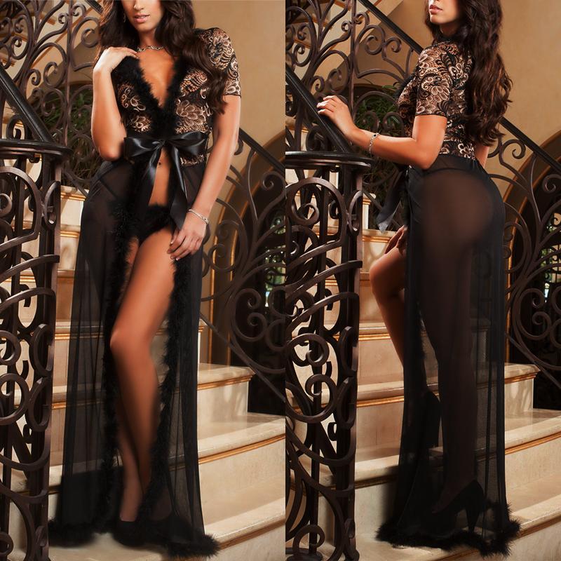 bf2e8f121227 Women Sexy Lingerie Dress Underwear Lace Long Gown Sleepwear Robe G String Sets  Black White Y1892810 Lady Lingerie Luxury Sleepwear From Shenfa03
