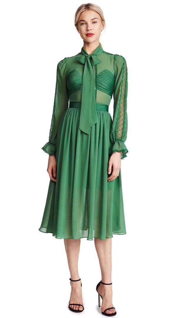 84d87e07b 2019 Women Green Long Sleeve Hollow Out Gathered Bust Chiffon Pussy Bow Midi  Dress From Rachaw