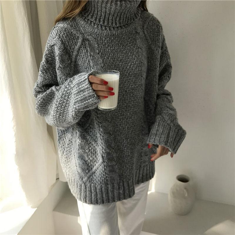 timeless design 14818 e7e7f Korean Xxl Winter Pullover Frauen lose Rollkragen Twist Grob Gestrickte  Dicke Warme Pullover Kleid Pullover Outwear