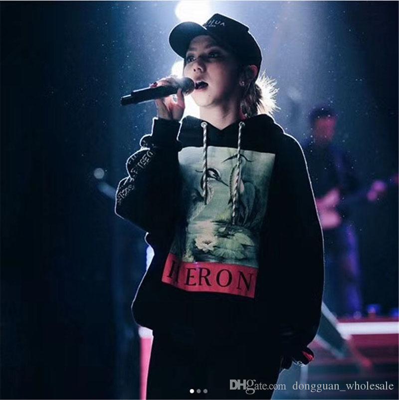 Sudaderas con estampado de grúas Hombres Mujeres Hip Hop Heron Preston Sudaderas Jerseys Streetwear Negro Heron Preston Sudaderas 2018