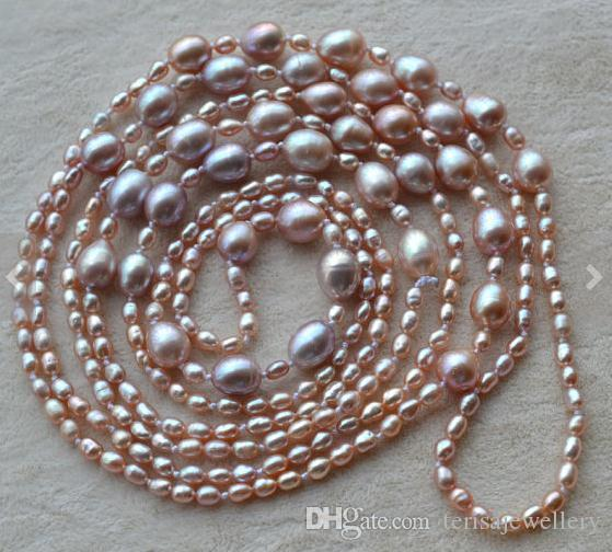 30b2b015d84bc7 2019 Genuine Pearl Jewellery,58inches Lavender Color Real Freshwater Pearl  Necklace,3 8mm ,Woman Jewelry,New From Terisajewellery, $56.29 | DHgate.Com